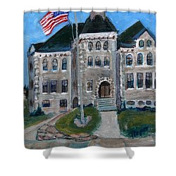 Shower Curtain featuring the painting West Hill School In Canajoharie New York by Betty Pieper