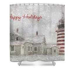 West Quoddy Christmas Shower Curtain by Lori Deiter