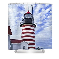 West Quoddy Head Lighthouse And Clouds Shower Curtain by Marty Saccone
