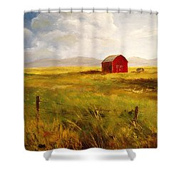 Western Barn Shower Curtain by Lee Piper