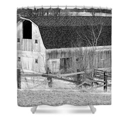 Western New York Farm 1 In Black And White Shower Curtain by Tracy Winter