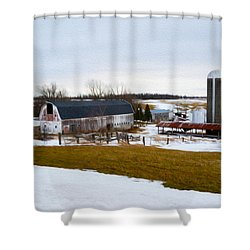 Western New York Farm As An Oil Painting Shower Curtain