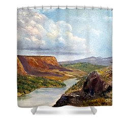 Western River Canyon Shower Curtain by Lee Piper