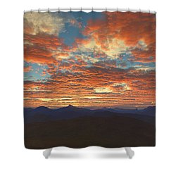 Shower Curtain featuring the digital art Western Sunset by Mark Greenberg