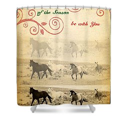 Western Themed Christmas Card Wyoming Spirit Shower Curtain