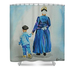 Westfriese Woman And Boy Shower Curtain