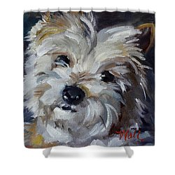 Shower Curtain featuring the painting Westie Mix by Pattie Wall