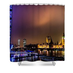 Westminster And Eye Night Glow Shower Curtain by Matt Malloy