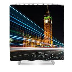 Westminster Light Trails Shower Curtain by Matt Malloy