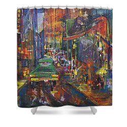 Wet China Lights Shower Curtain by Leela Payne