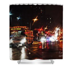 Wet City 4 Shower Curtain by Sarah Loft