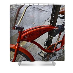 Wet Orange Bike   Nyc Shower Curtain