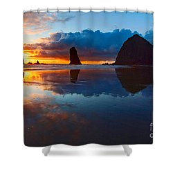 Wet Paint - Sunset In Oregon Shower Curtain by Jamie Pham