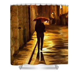 Wet Rainy Night Shower Curtain
