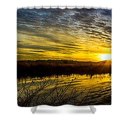 Wetlands Sunset Shower Curtain