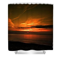 Weymouth  Golden Sunrise Shower Curtain by Baggieoldboy