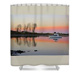 Whakatane At Sunset Shower Curtain by Venetia Featherstone-Witty