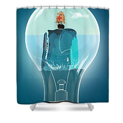Whale Lights  Shower Curtain by Mark Ashkenazi