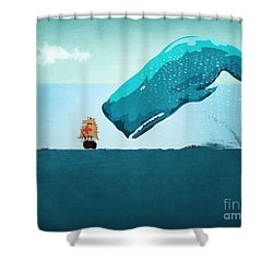 Whale Shower Curtain by Mark Ashkenazi