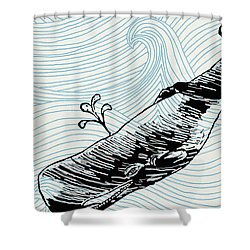 Whale On Wave Paper Shower Curtain by Konni Jensen