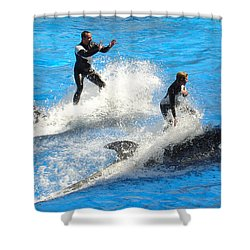 Whale Racing Shower Curtain by David Nicholls