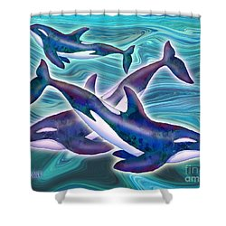Shower Curtain featuring the mixed media Whale Whimsey by Teresa Ascone