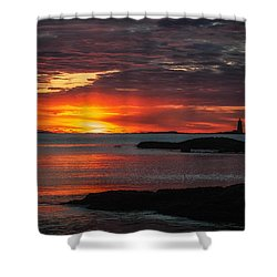 Whaleback Lighthouse Shower Curtain by Scott Thorp