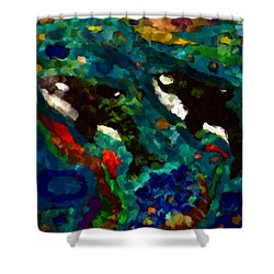 Whales At Sea - Orcas - Abstract Ink Painting Shower Curtain