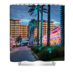 Wharf Blue Lighted Trees Shower Curtain by Michael Thomas
