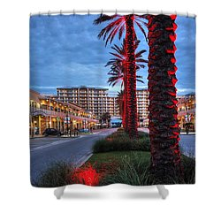 Wharf Red Lighted Trees Shower Curtain by Michael Thomas