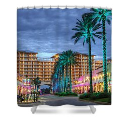 Wharf Turquoise Lighted  Shower Curtain by Michael Thomas