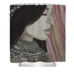 Shower Curtain featuring the mixed media What Is Beauty by Malinda  Prudhomme