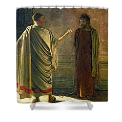 What Is Truth    Christ And Pilate Shower Curtain by Nikolai Nikolaevich Ge