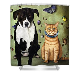 What's Bugging Luke And Molly Shower Curtain by Leah Saulnier The Painting Maniac