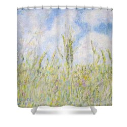Wheat Field And Wildflowers Shower Curtain