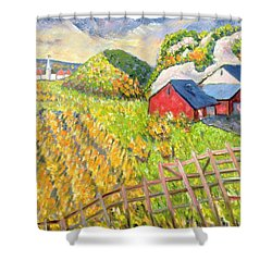 Wheat Harvest Kamouraska Quebec Shower Curtain by Patricia Eyre