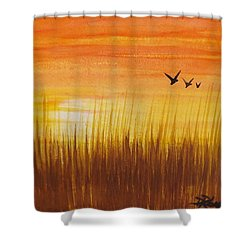 Shower Curtain featuring the painting Wheatfield At Sunset by Darren Robinson