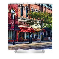 Wheaton Front Street Store Fronts Shower Curtain by Christopher Arndt