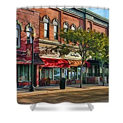 Wheaton Front Street Stores Shower Curtain by Christopher Arndt