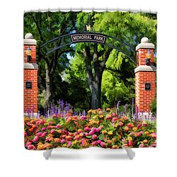 Wheaton Memorial Park Shower Curtain by Christopher Arndt
