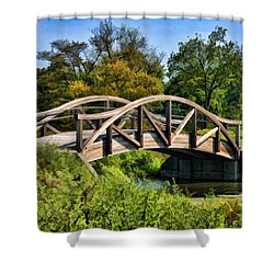 Wheaton Northside Park Bridge Shower Curtain by Christopher Arndt