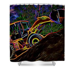 Wheel Loader Moving Dirt - Neon Shower Curtain