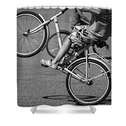 Shower Curtain featuring the photograph Wheelie Boys by Ari Salmela