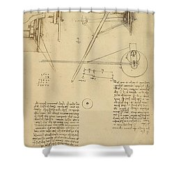 Wheels And Pins System Conceived For Making Smooth Motion Of Carts From Atlantic Codex Shower Curtain by Leonardo Da Vinci