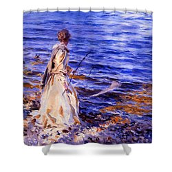 When A Woman Goes Fishing Shower Curtain