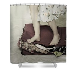 When A Woman Travels Shower Curtain by Joana Kruse