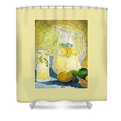 Shower Curtain featuring the painting When Life Gives You Lemons by Angela Davies
