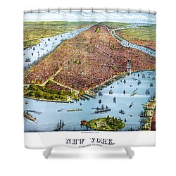 When New York Was Flat Shower Curtain by Georgia Fowler