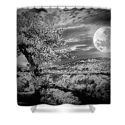 Shower Curtain featuring the photograph When The Moon Comes Over Da Mountain by Robert McCubbin