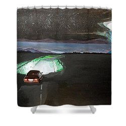 When The Night Start To Walk Listen With Music Of The Description Box Shower Curtain